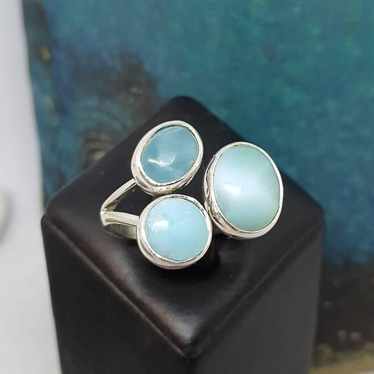 Sterling silver larimar gemstone ring