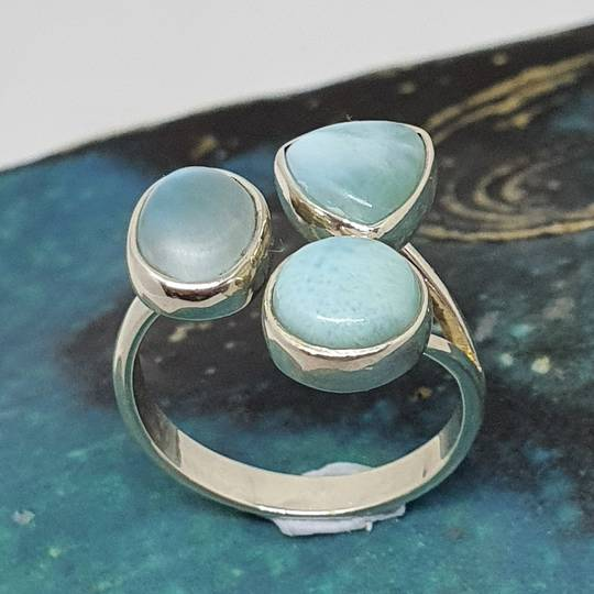 Sterling silver larimar gemstone ring