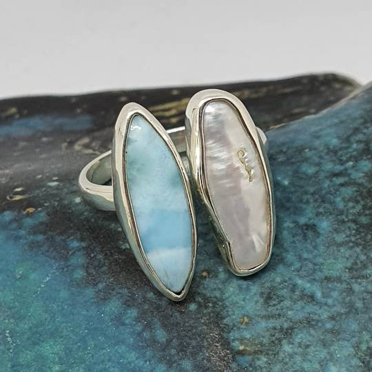 Sterling silver larimar and pearl ring