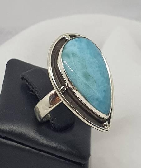 Sterling silver large teardrop larimar gemstone ring
