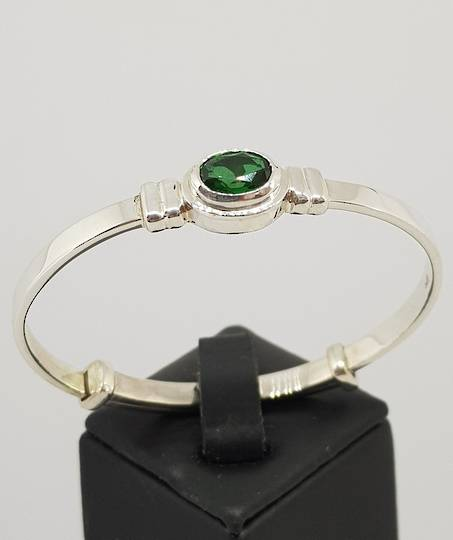 Sterling silver May baby birthstone bangle