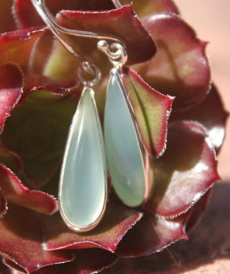 Silver chalcedony earrings - elongated teardrop shape