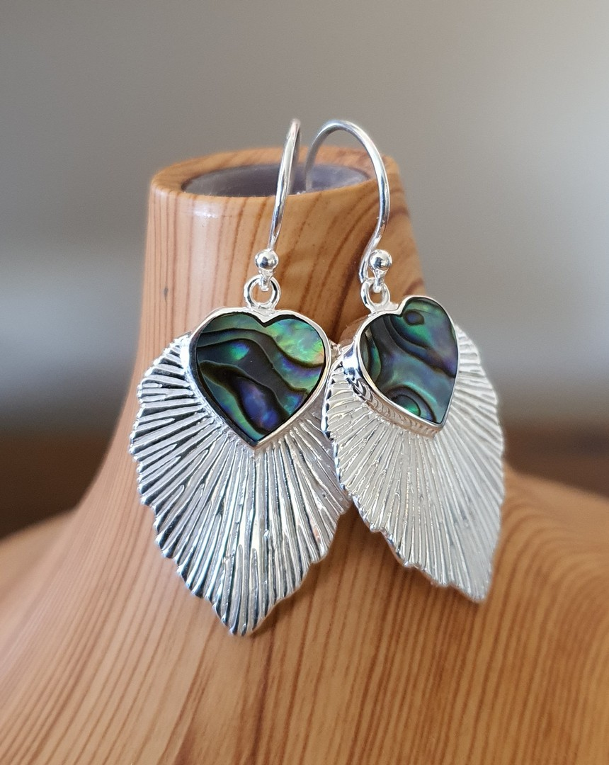 Leaf shape paua shell earrings