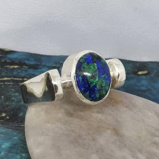 Azurite malachite silver ring, made in NZ