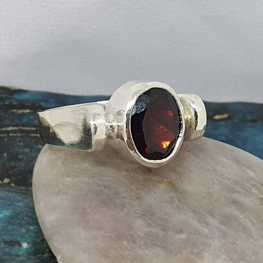 Facet cut garnet ring, sterling silver, made in NZ