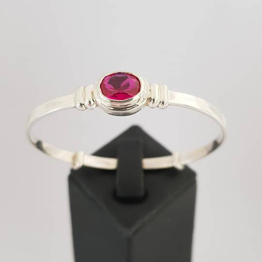 Sterling silver birthstone baby bangle for July baby