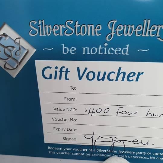 SilverStone Jewellery voucher - $400, redeemed in our studio