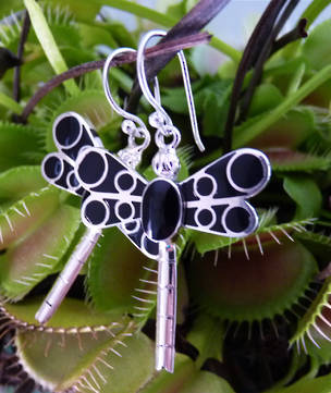 Black dragonfly earrings - now on sale