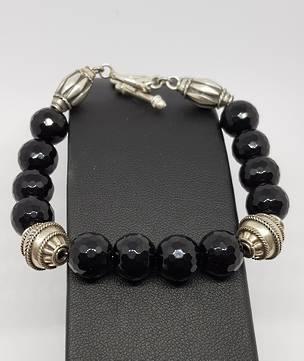 Facet cut black onyx beads and silver bracelet