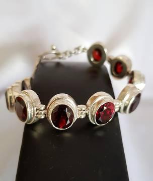 Gorgeous Sterling Silver Garnet Bracelet - now on sale