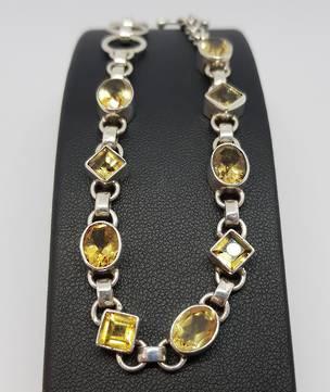 Sterling silver citrine gemstone bracelet