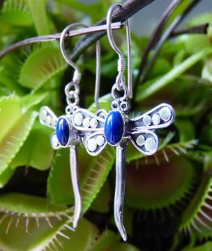 Sterling silver lapis lazuli dragonfly earrings