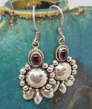 Sterling silver cabochon garnet earrings