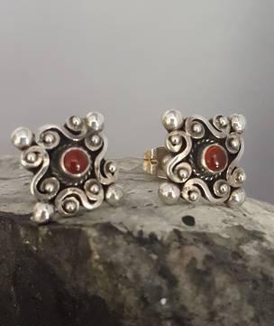 Sterling silver carnelian stud earrings