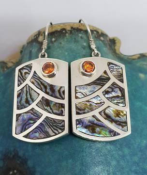 Paua shell earrings with orange gemstone