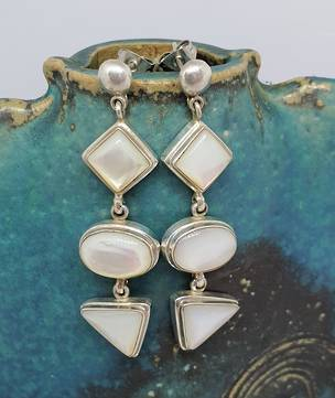 Mother of pearl long stud earrings