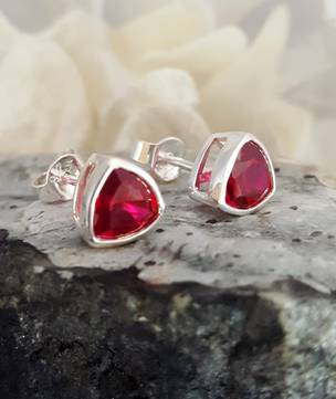 Sparkling red, synthetic ruby stud earrings