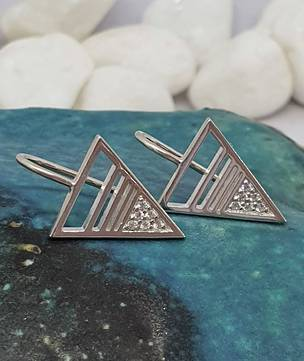Cute little triangle silver earrings with cz gemstones