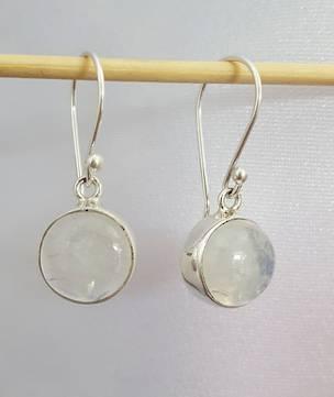 Round silver moonstone earrings