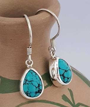 Sterling silver turquoise teardrop earrings