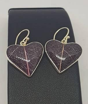 Purple skeleton leaf silver earrings - heart shaped