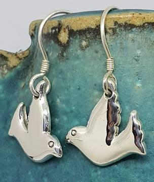 Sterling silver dove earrings