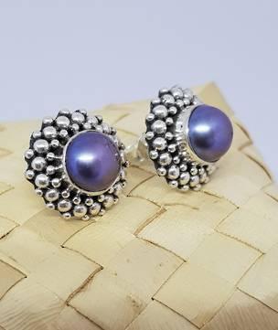 Blue/gray pearl earrings, sterling silver