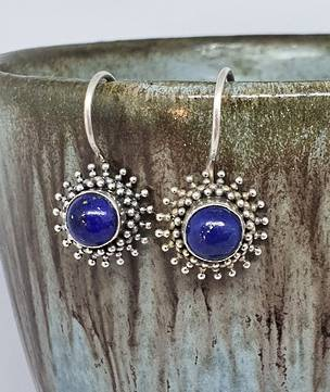 Sterling silver lapis lazuli hook earrings