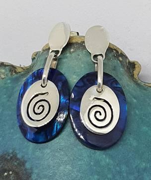 Nz paua shell earrings with koru design