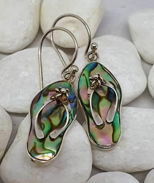 Silver Paua Shell Jandal Earrings