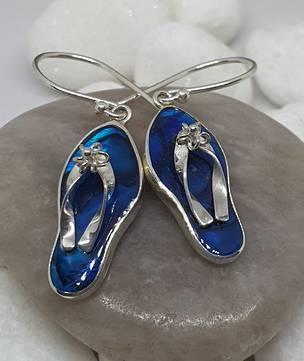 Blue paua shell jandal earrings