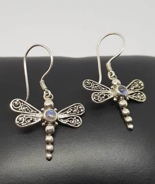 Silver moonstone dragonfly earrings - last pair