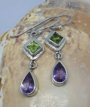 Silver amethyst and topaz earrings - last pair