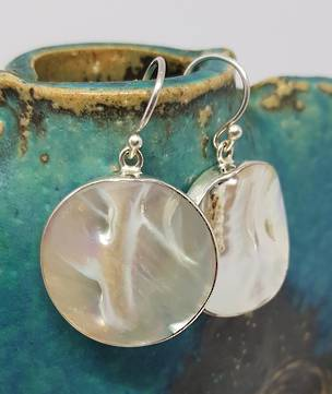 Large round mother of pearl earrings
