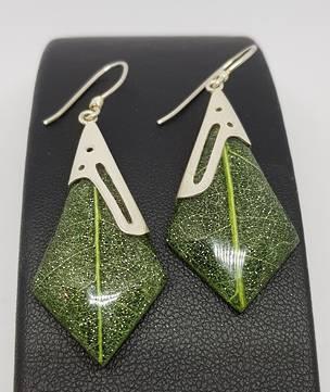 Green skeleton leaf silver earrings