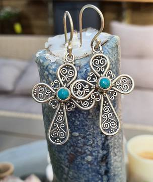 Sterling silver filigree turquoise cross earrings