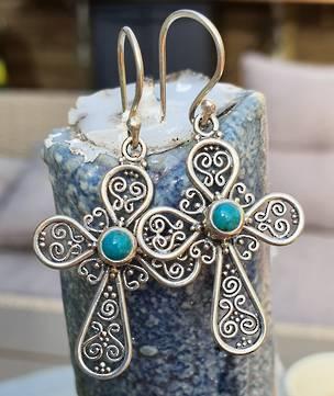 Sterling silver filigree turquoise cross earrings