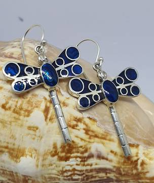 Inlay dyed blue paua shell - dragonfly earrings