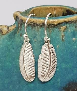 Sterling silver feather earrings on hooks