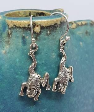 Sterling silver frog earrings