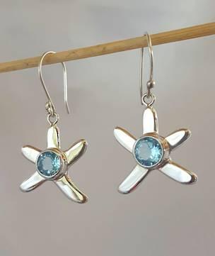 Silver blue topaz starfish earrings