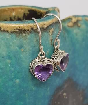 Silver amethyst heart earrings
