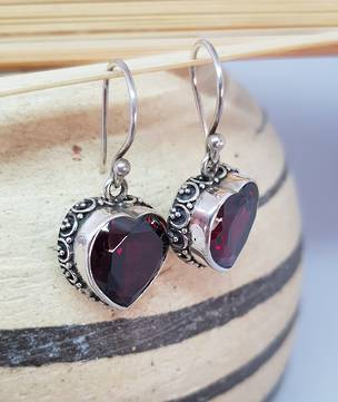 Sterling silver heart shape garnet earrings