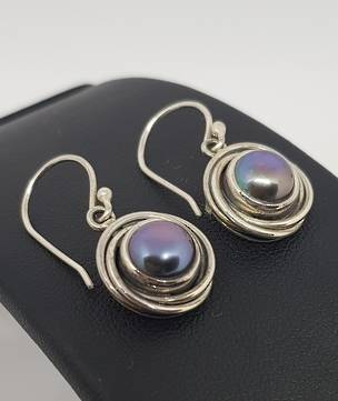 Deep grey pearl earrings, sterling silver