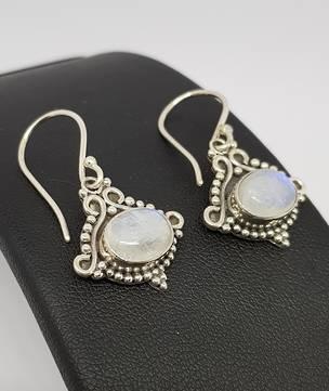 Decorative silver moonstone earrings