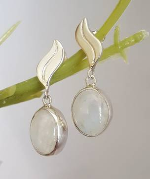 Silver moonstone earrings with stud fitting