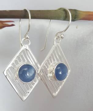 Sterling silver and blue kyanite gemstone earrings