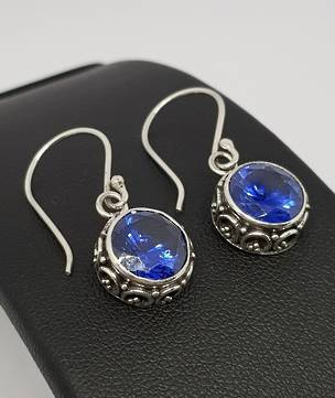 10mm round filigree synthetic sapphire earrings