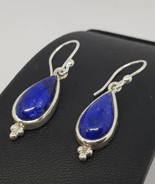 Sterling silver lapis lazuli hook earrings