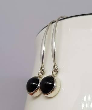 Elegant long hooked black onyx earrings